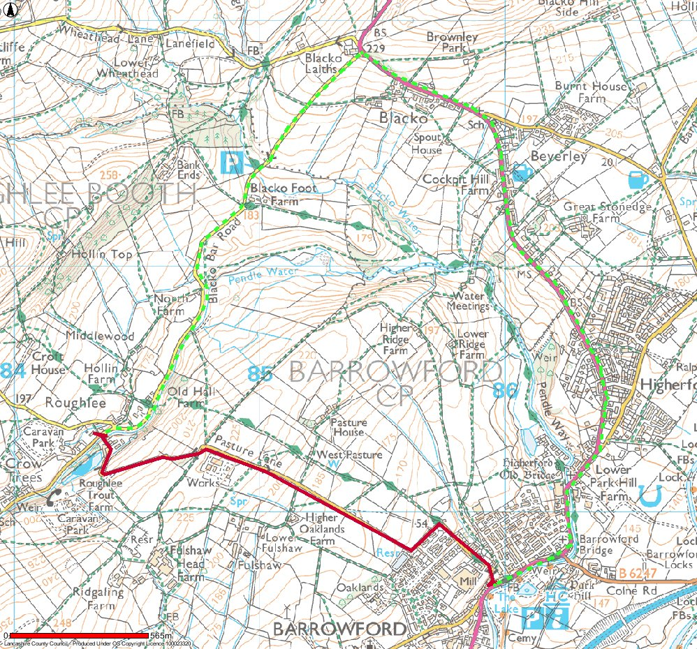 Map of Pasture Lane closure in Feb 2016